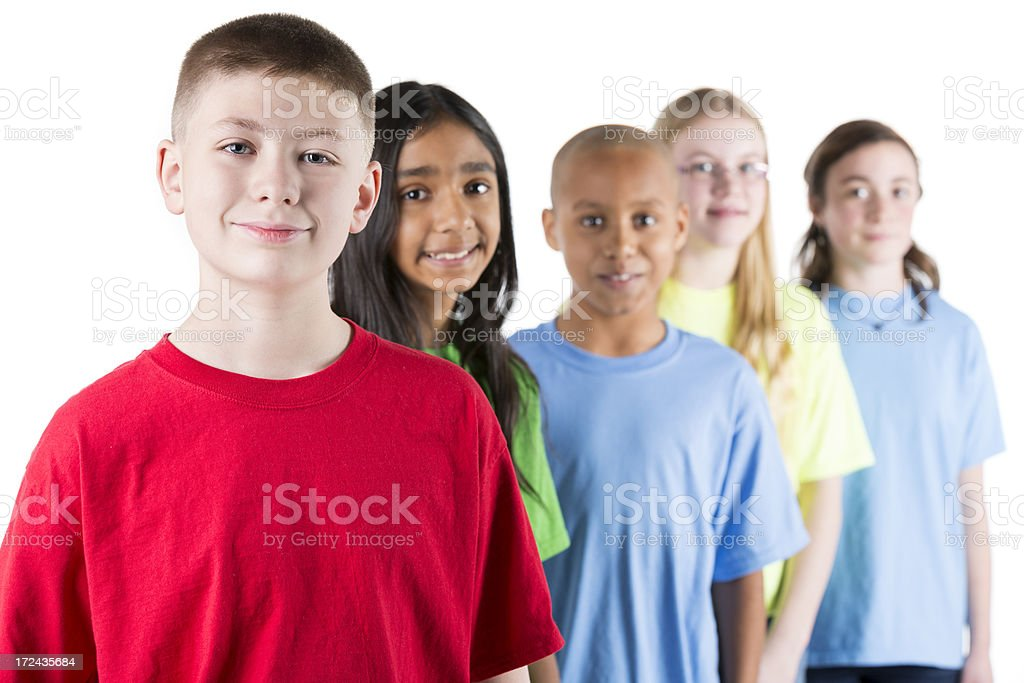 Group of happy diverse pre-teens on white background royalty-free stock photo