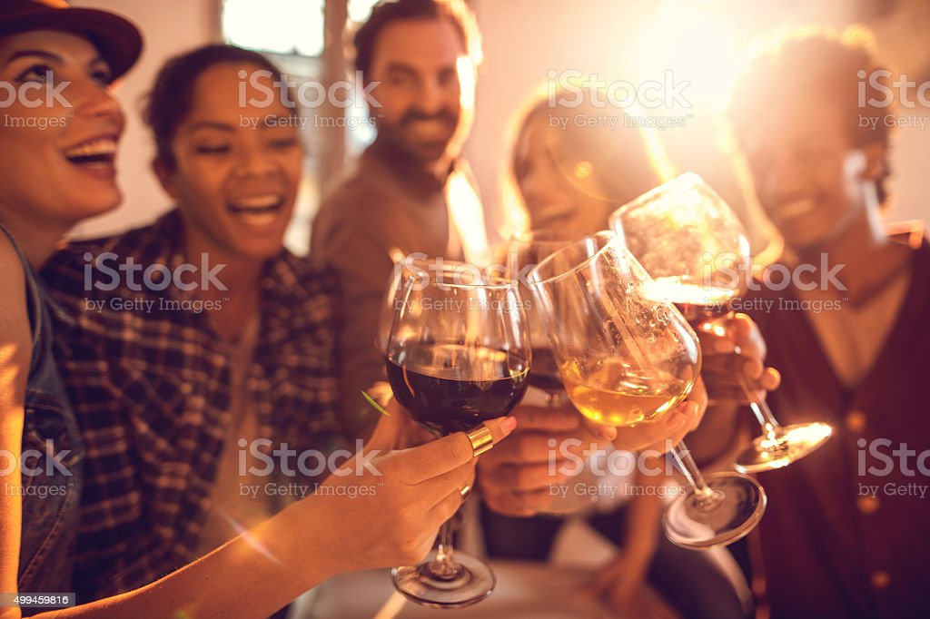 Group of happy friends having fun while toasting with wine. stock photo
