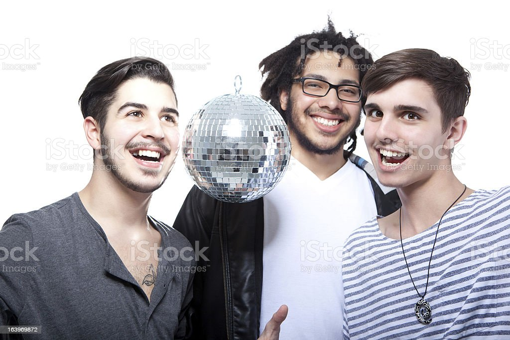 Group Of Happy Friends With Disco Ball royalty-free stock photo