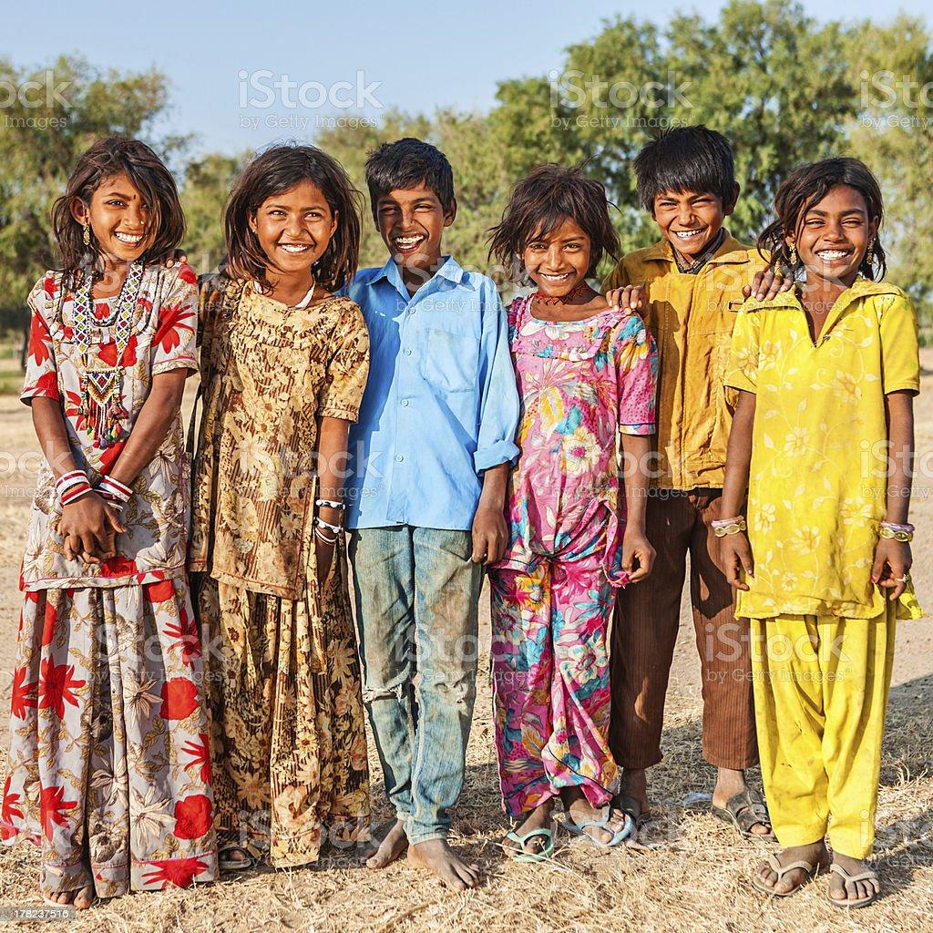Group of happy Indian children, desert village, India stock photo