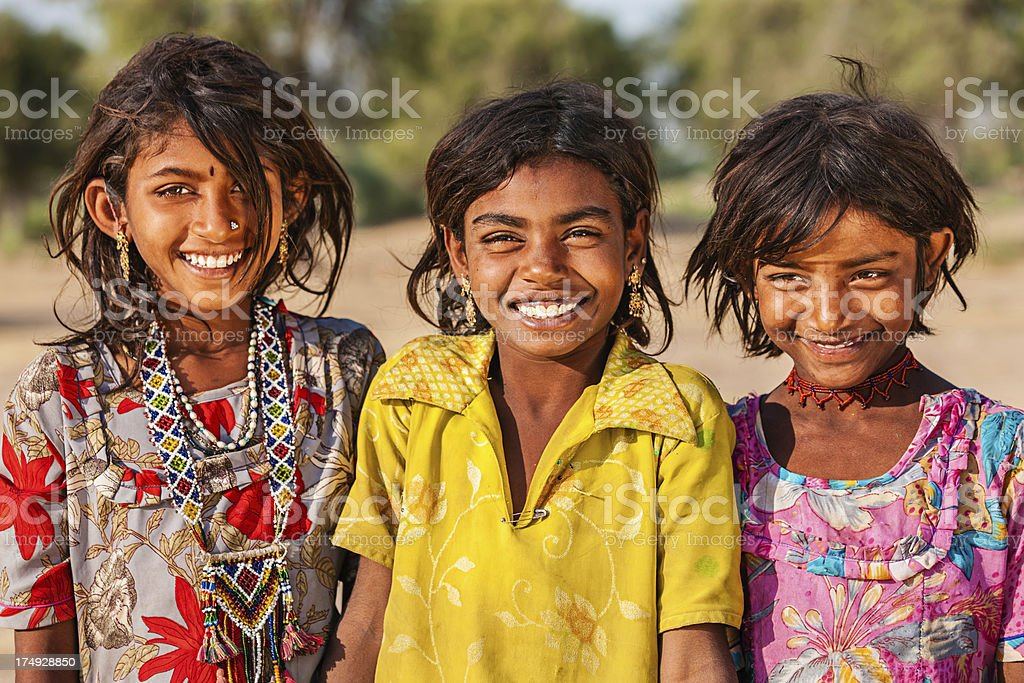 Group of happy Indian girls, desert village, India royalty-free stock photo
