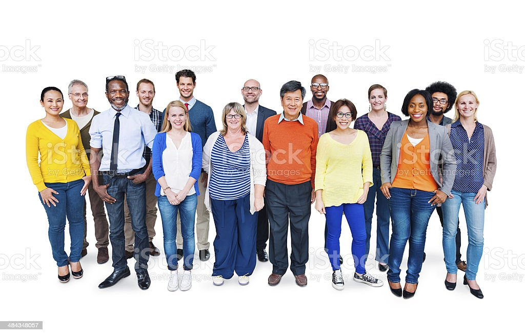 Group Of Happy Multi-Ethnic People Standing On A White Background stock photo