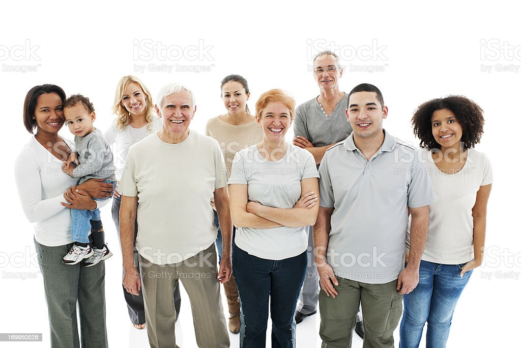 Group of Happy Multi-generation Family smiling. royalty-free stock photo