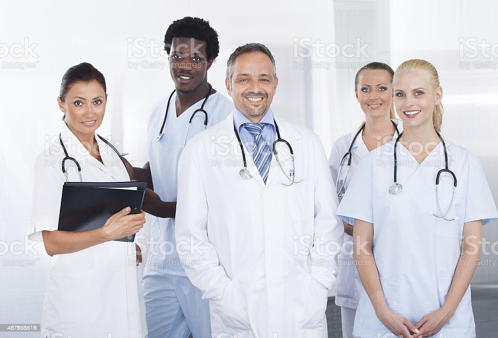Group Of Happy Multiracial Doctors stock photo