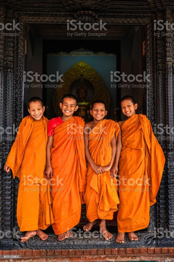 Group of happy Novice Buddhist monks, Bhaktapur stock photo