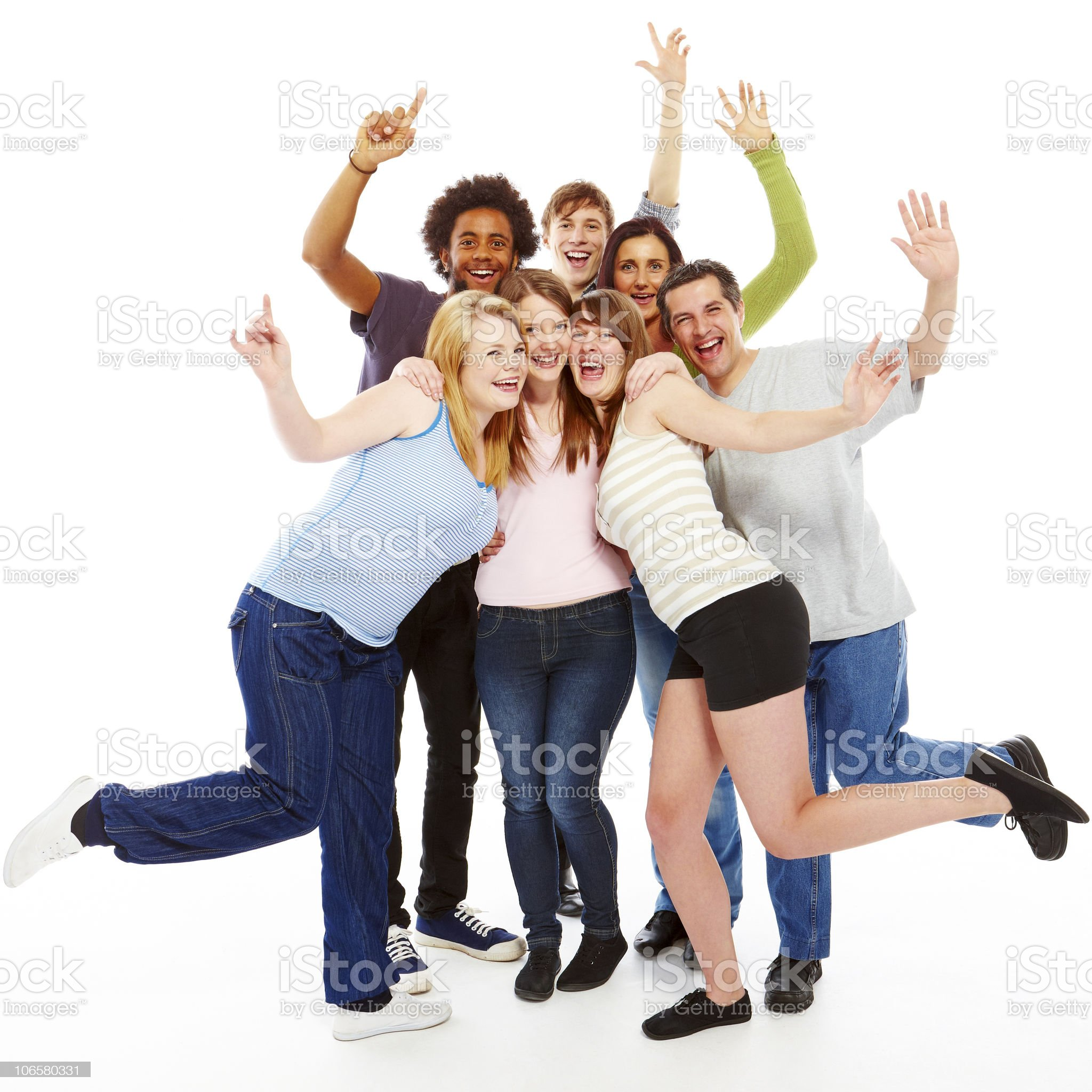 group of happy people hugging isolated on white background royalty-free stock photo
