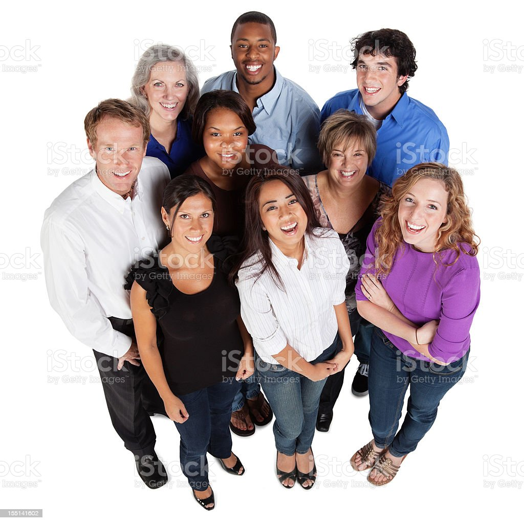 Group of happy people looking up royalty-free stock photo