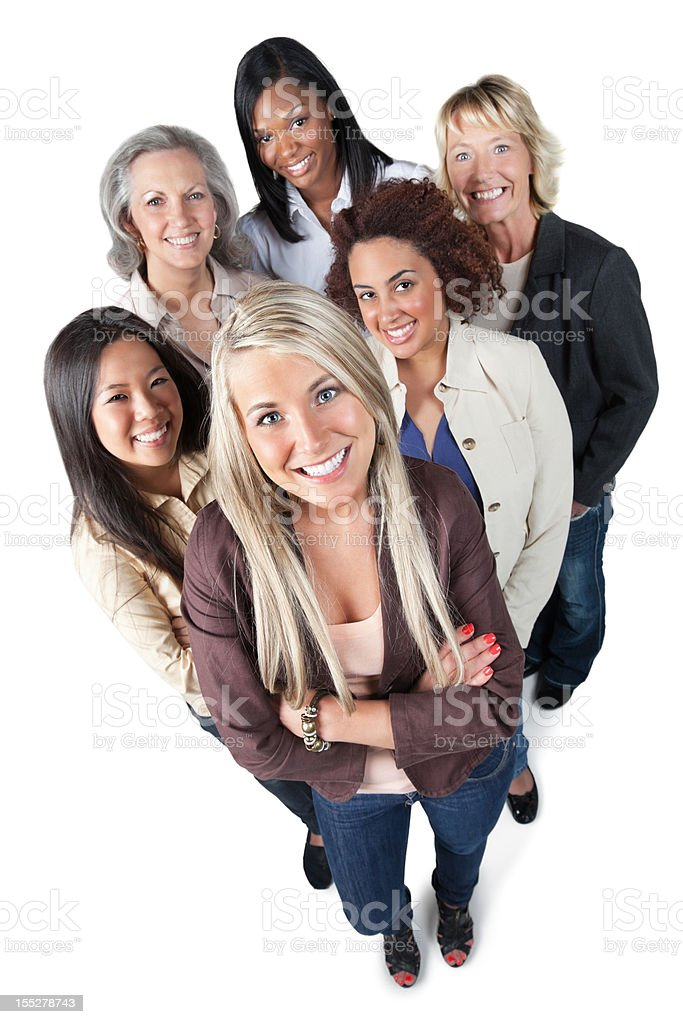 Group of happy professional women looking up royalty-free stock photo