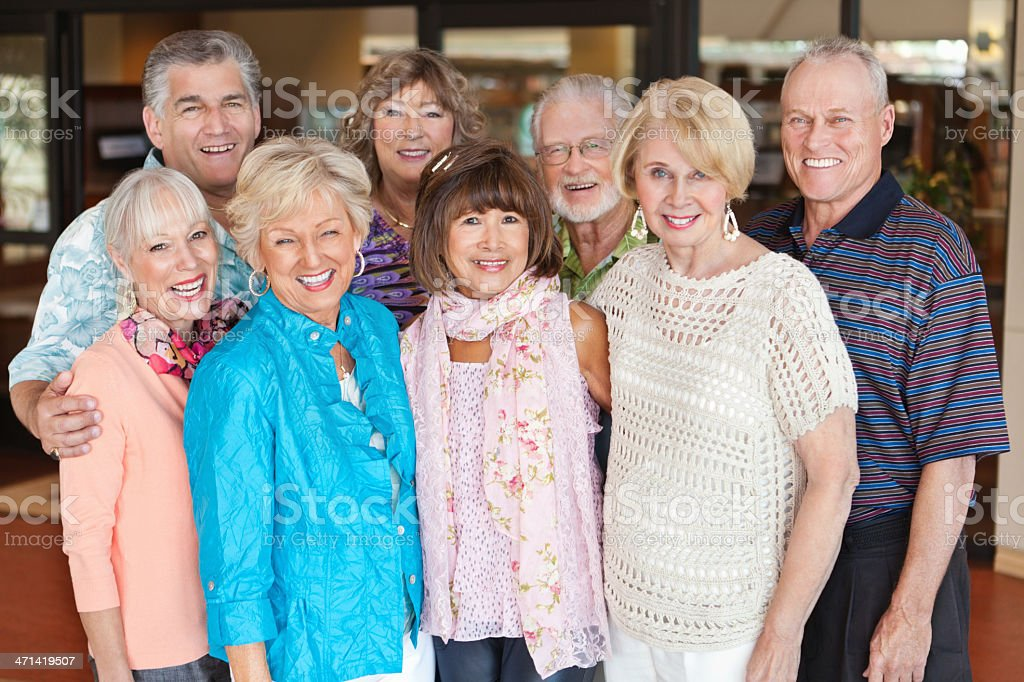 Group of happy senior adult friends stock photo