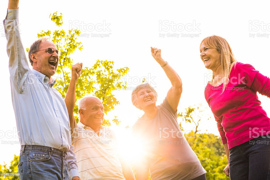 Group of happy seniors having fun together at sunset. stock photo