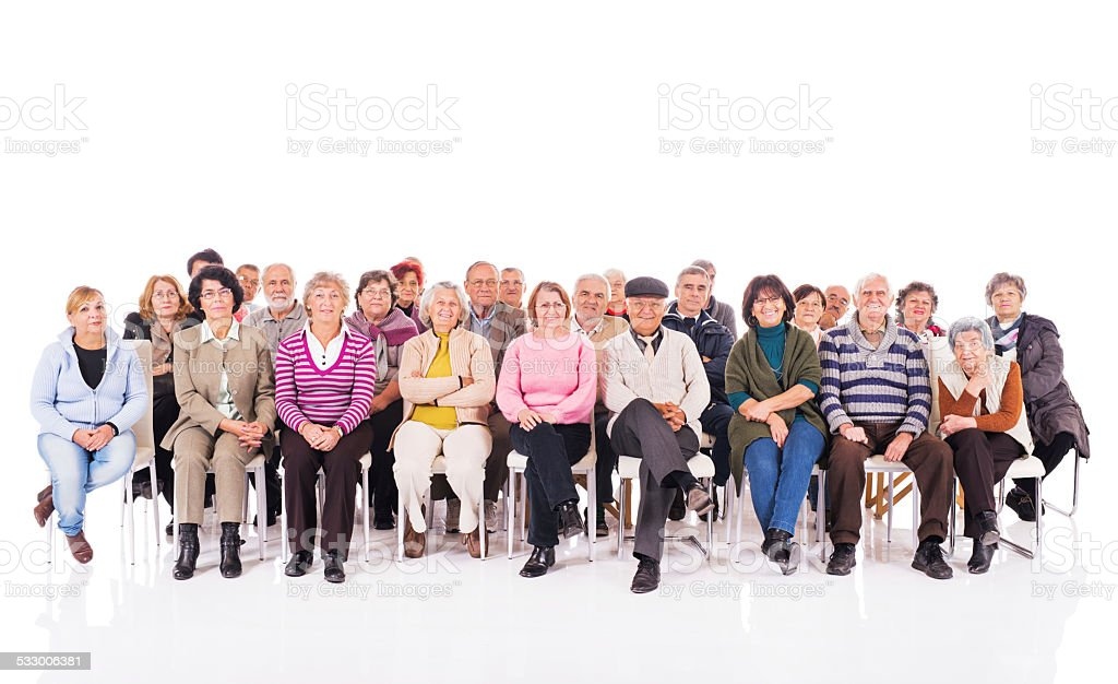 Group of happy seniors isolated on white. stock photo