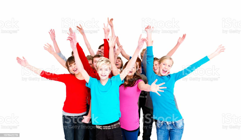 Group of happy teenagers with hands up against white royalty-free stock photo