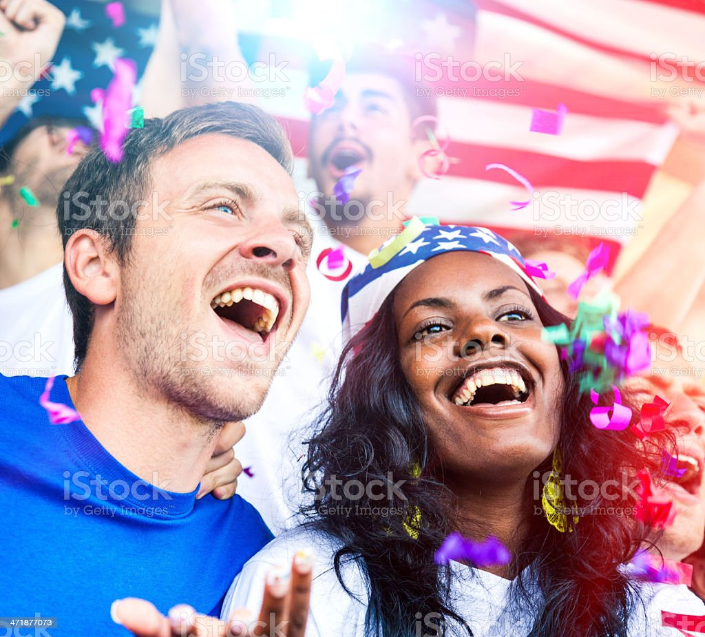 Group of happy USA supporters royalty-free stock photo