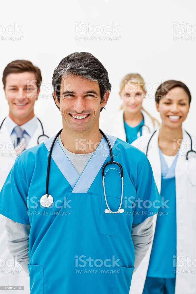 Group of happy young doctors royalty-free stock photo