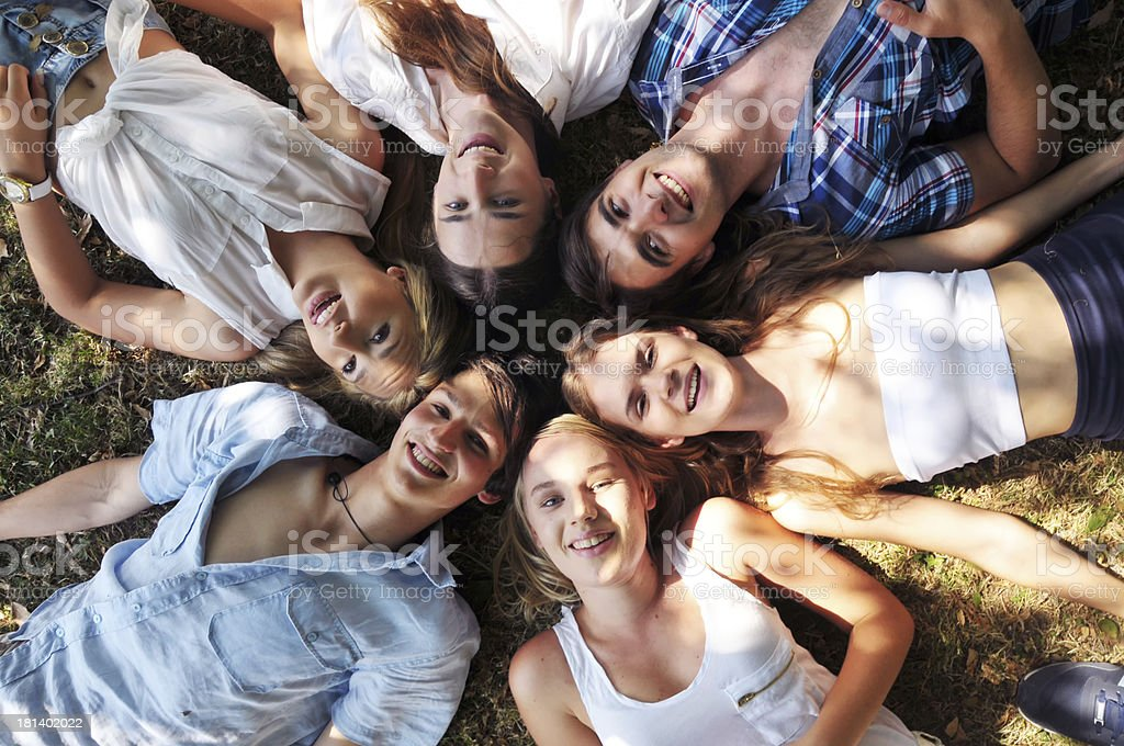 Group of happy young friends royalty-free stock photo