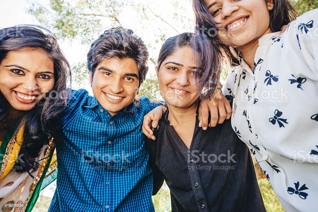 Group of happy young indian people stock photo