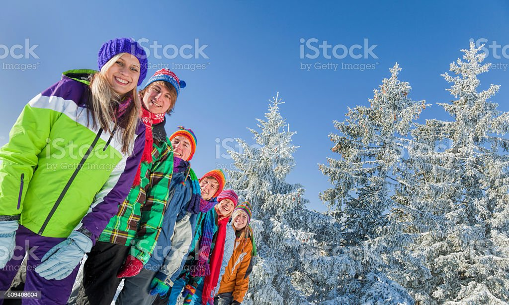Group of happy young people in winter forest stock photo