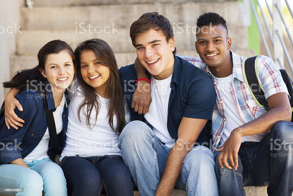 A group of high school friends stock photo