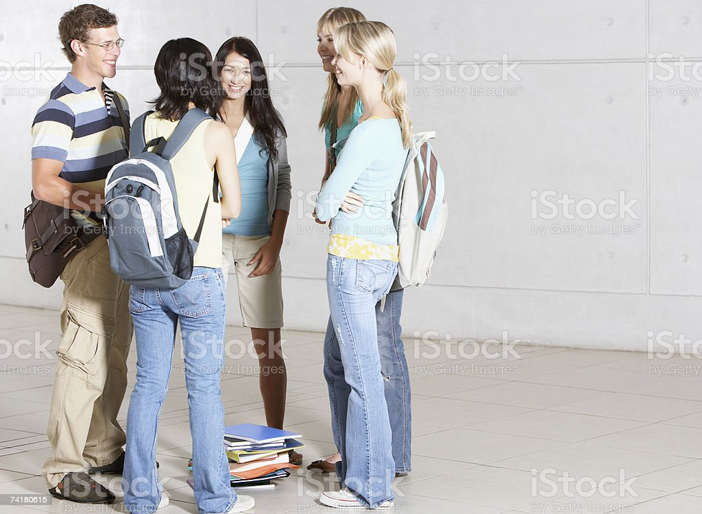 Group of high school students at school royalty-free stock photo