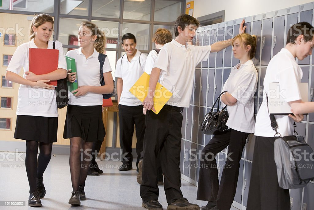 Group of high school students near lockers royalty-free stock photo