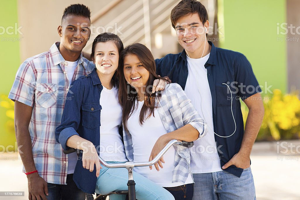 group of high school students outdoors royalty-free stock photo