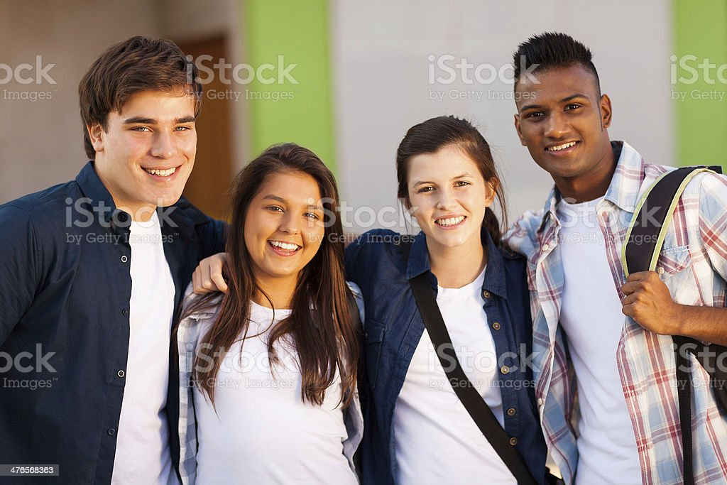 group of high school students portrait royalty-free stock photo