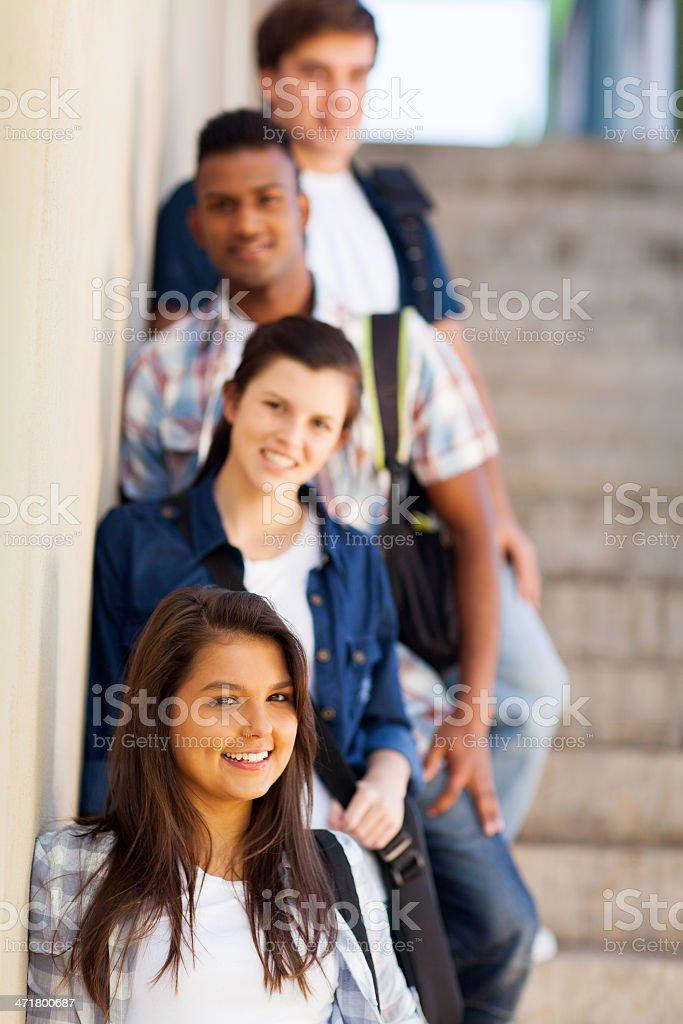 group of highschool girls and boys stock photo