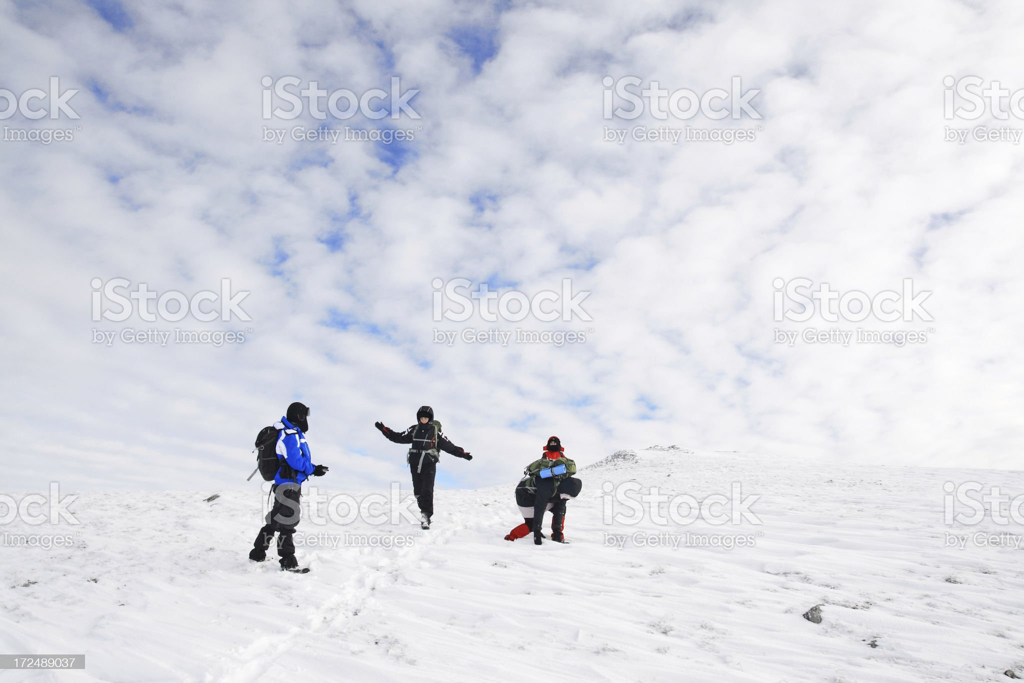 Group of hikers being played on a mountain royalty-free stock photo