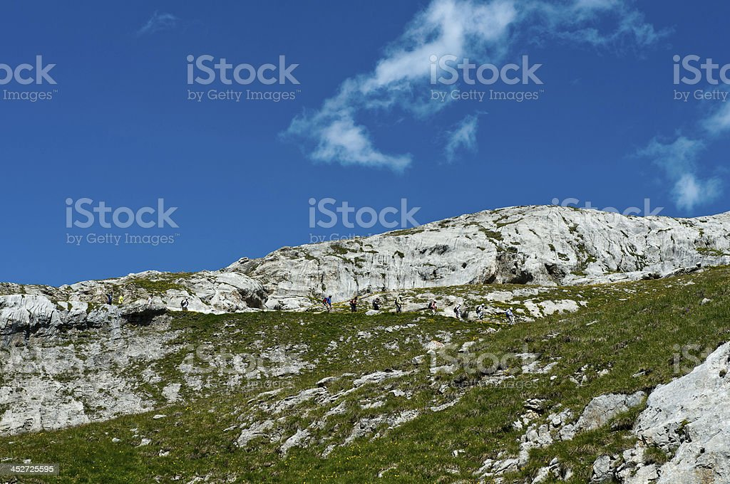 group of hikers in rocky terrain royalty-free stock photo