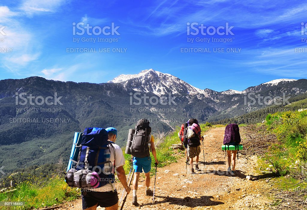 Group of hikers in the mountains, view of Tahtali  mountain stock photo