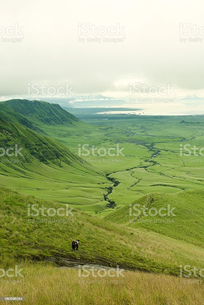 Group of Hikers in the Rift Valley stock photo