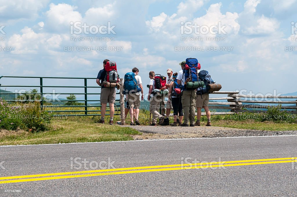 Group of hikers on Appalachian Trail in Virginia stock photo