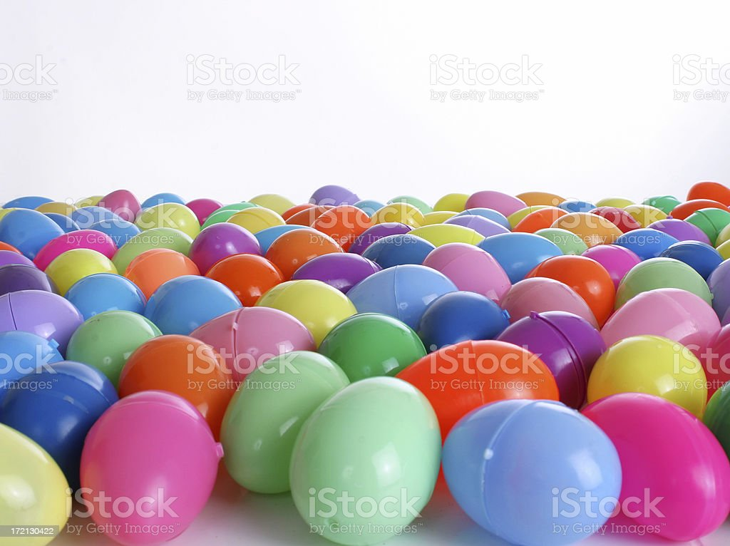 Group of hinged Easter Eggs horizontal royalty-free stock photo