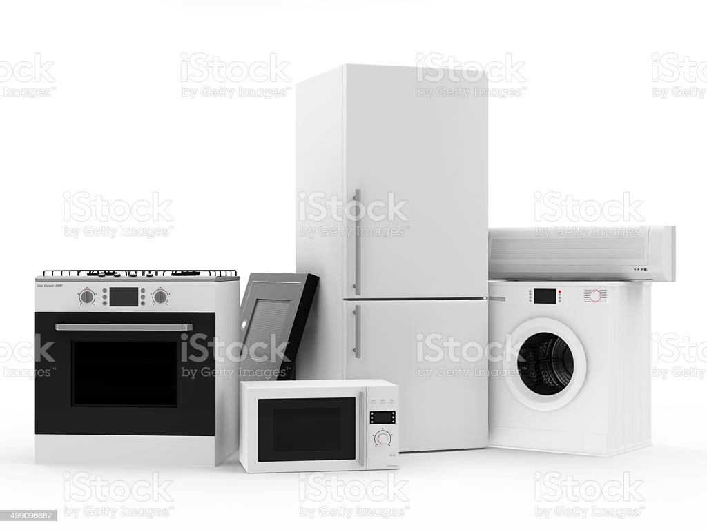 Group of home appliances. Refrigerator, Gas cooker, Microwave, Air conditioner vector art illustration