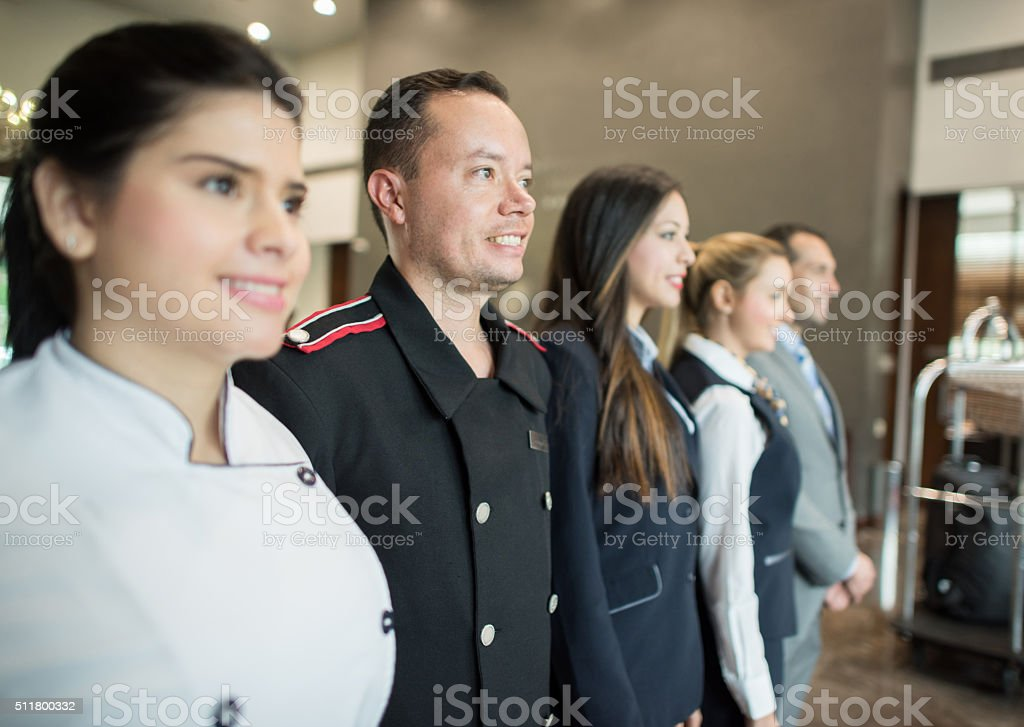 Group of hotel workers stock photo