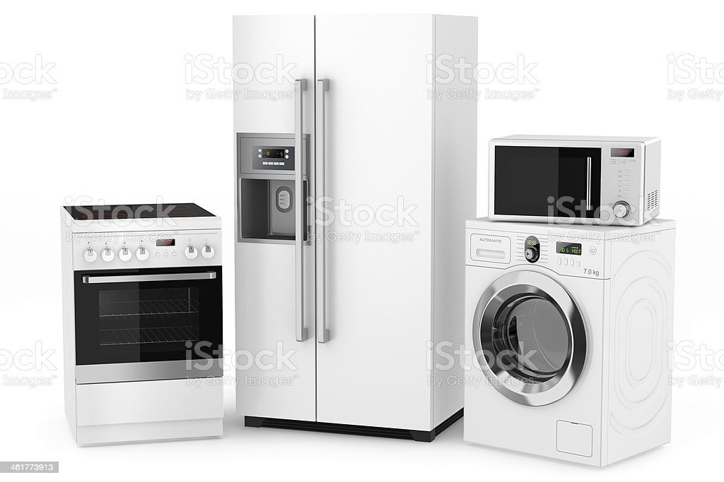 Group of household appliances stock photo
