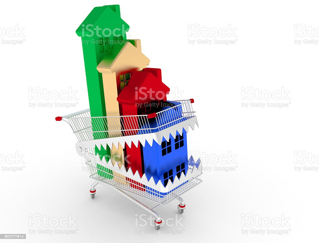 Group of houses in the trap of the shopping cart. 3D render stock photo