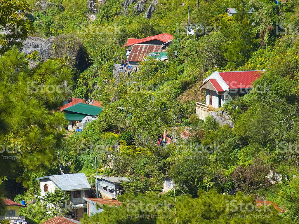 Group of houses near Baguio City, Philippines stock photo