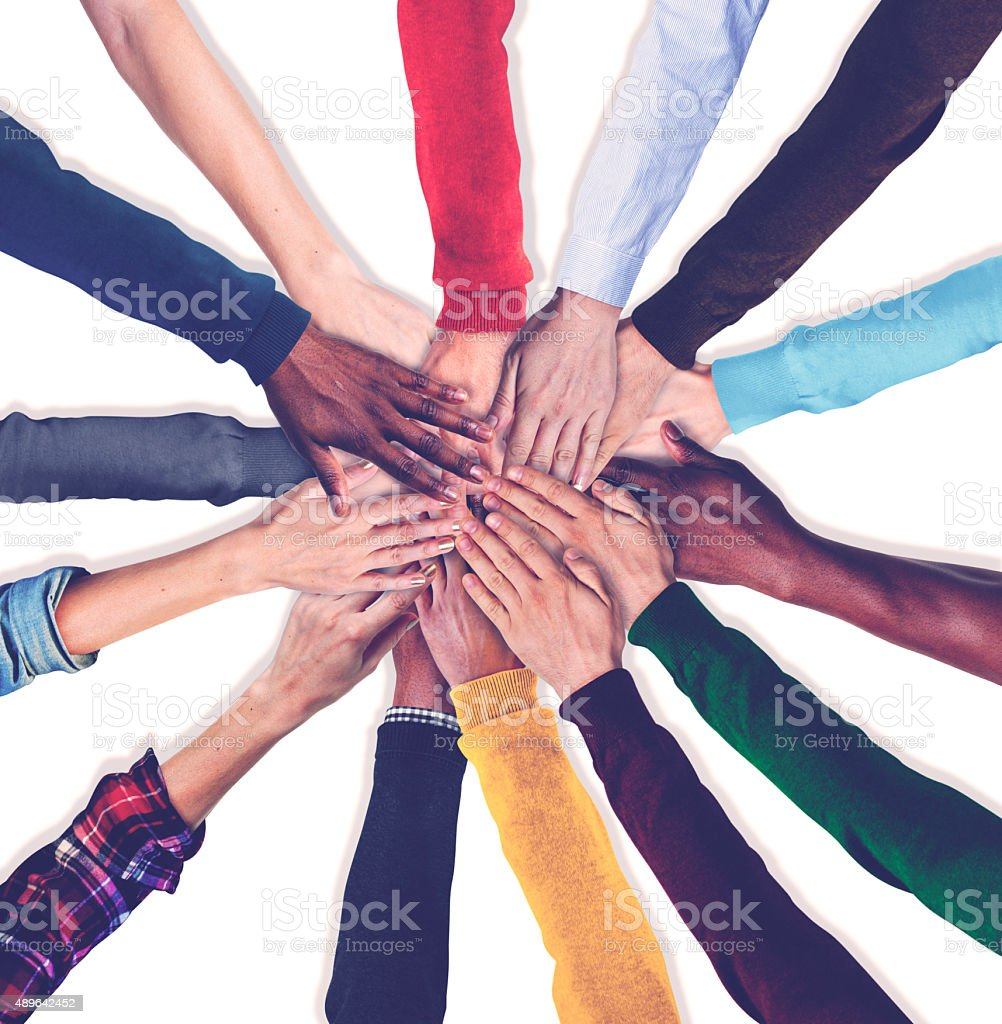 Group of Human Hands Holding Together Concept stock photo