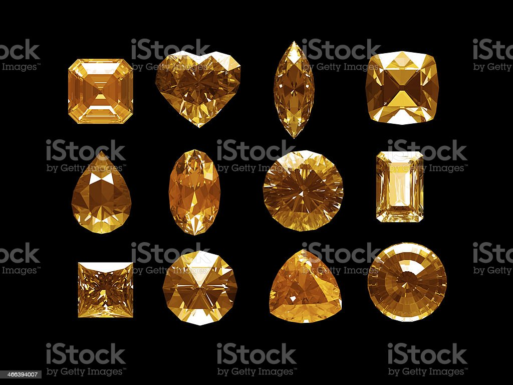 Group of imperial topaz with clipping path stock photo