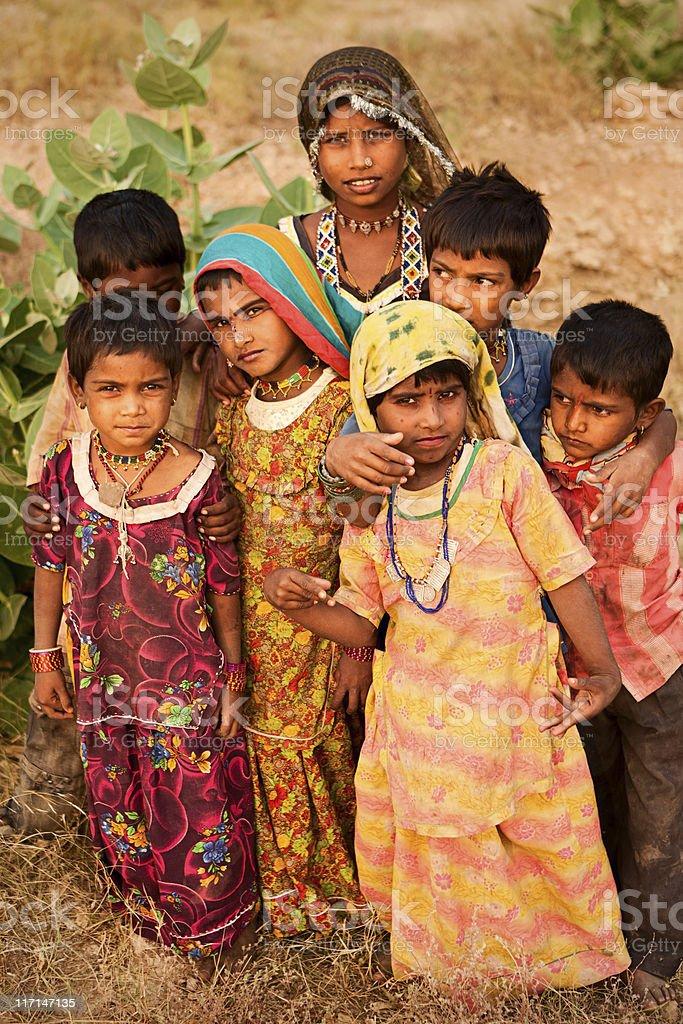 Group of Indian children, desert village royalty-free stock photo