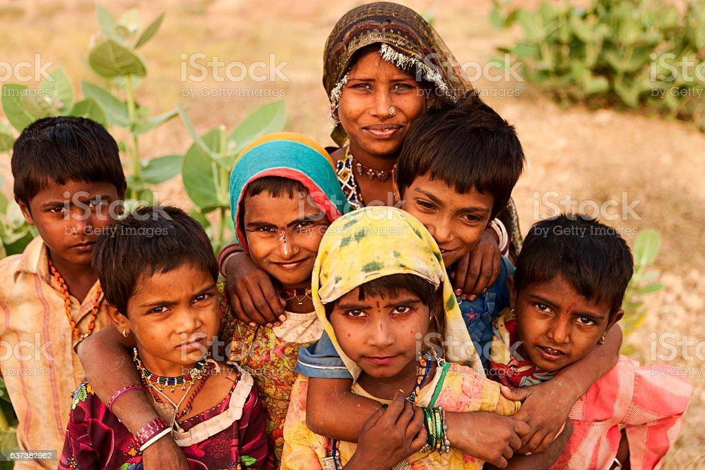 Group of Indian children, desert village stock photo
