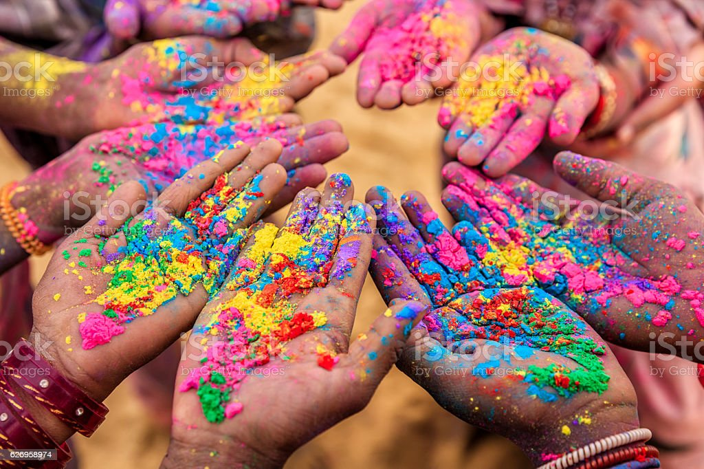 Group of Indian children playing holi in Rajasthan, India stock photo