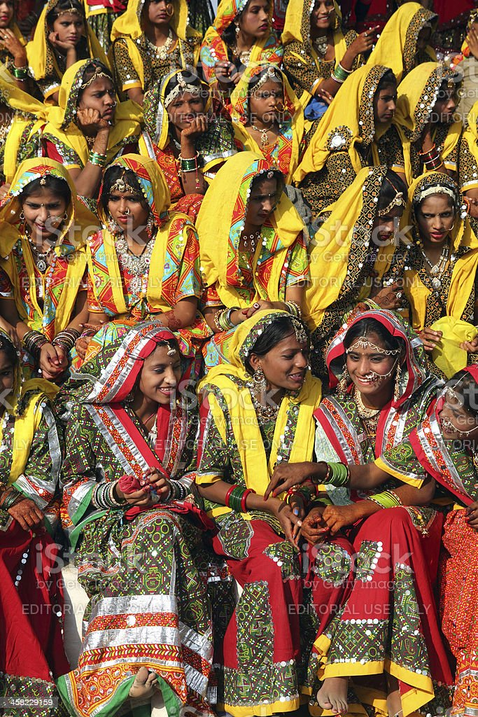 Group of Indian girls in colorful ethnic attire royalty-free stock photo