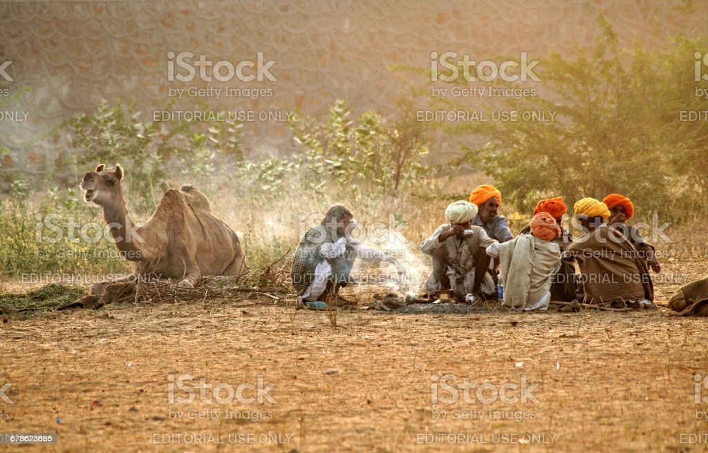 A group of Indian Rajasthani rural men engaged in morning activities at Pushkar Camel Fair, stock photo