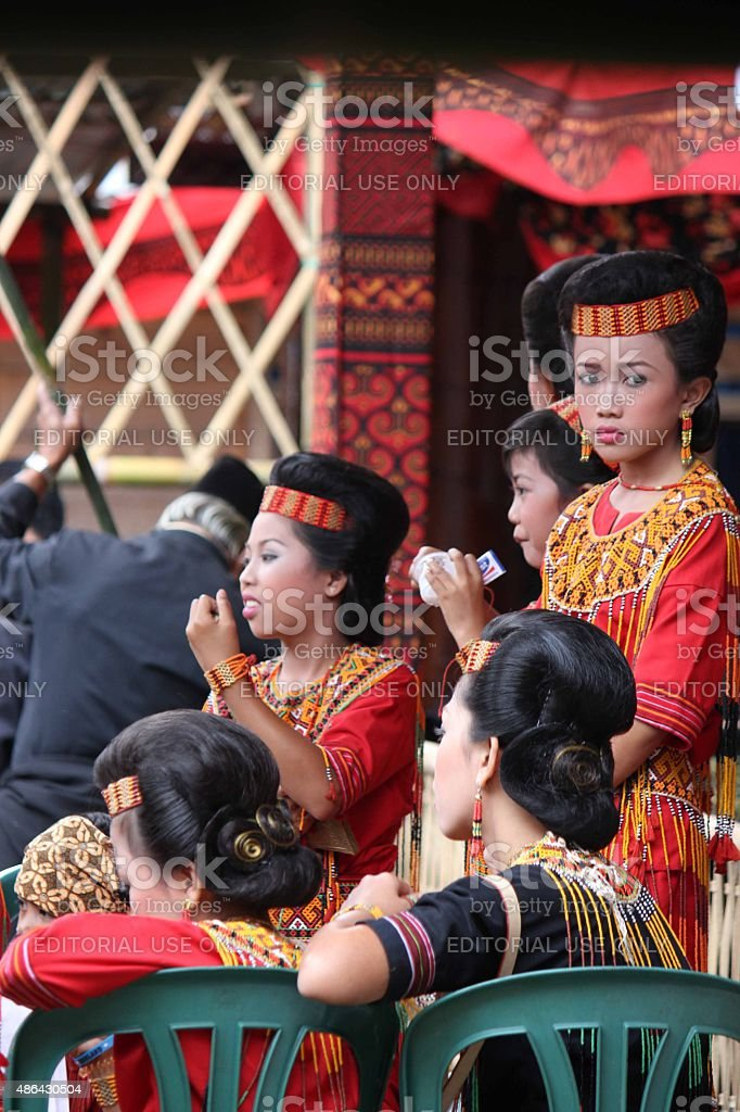 Group of Indonesian girl, from Toraja land stock photo