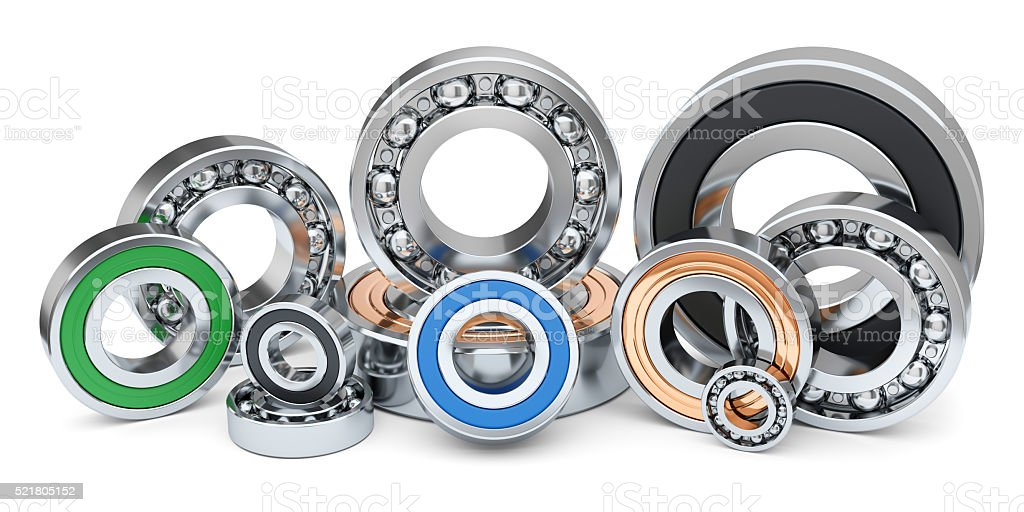 Group of industrial ball bearings in row. stock photo