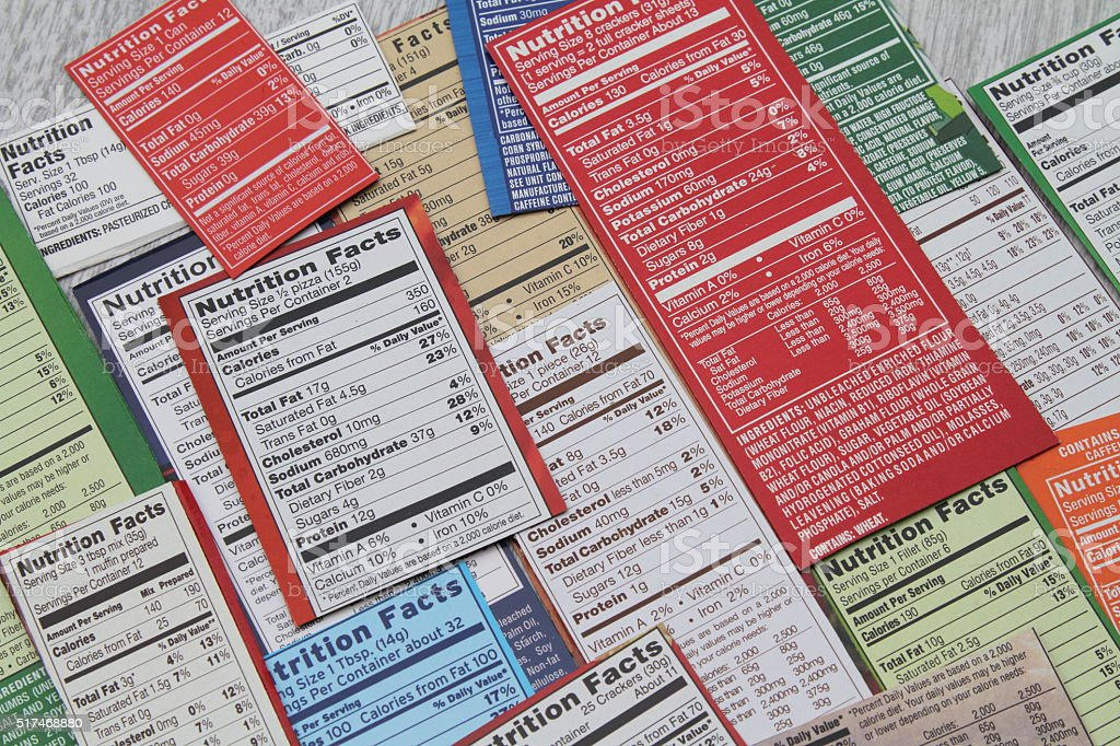 Group of ingredient labels showing nutrition facts stock photo