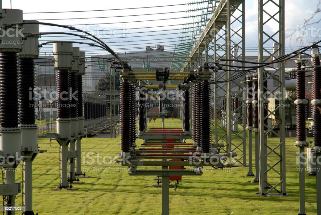group of insulators in a power station stock photo