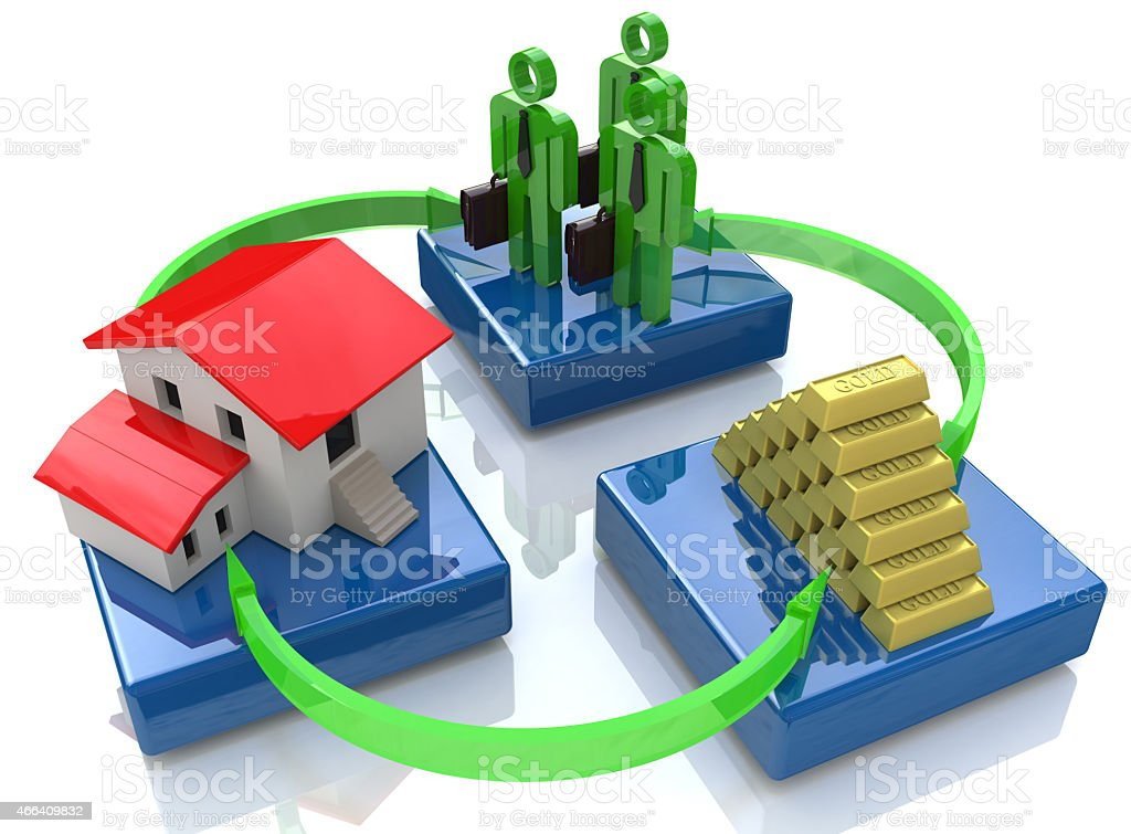 group of investors, house, gold bars - concept of investment stock photo